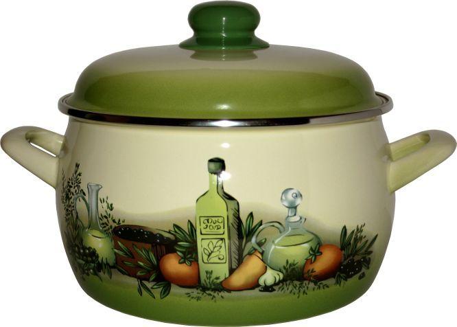 Hrnec smalt 22 cm 5,3 l zelené olivy