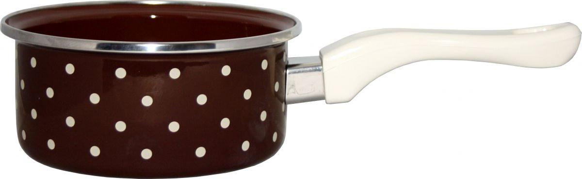 Rendlík smalt 14 cm s ručkou-bakelit hnědý puntík