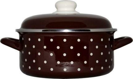 Rendlík smalt 24 cm/4,75 l s poklicí dekor hnědý puntík