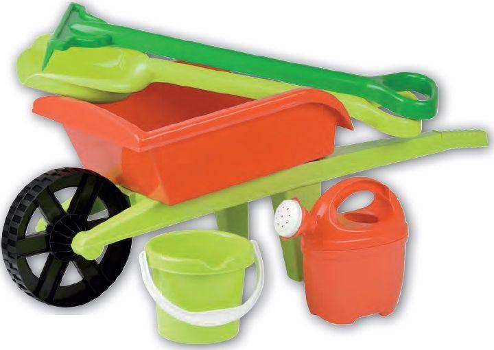 Kolečko dětské s příslušenstvím - hrábě, lopatka, kyblík, konev plast