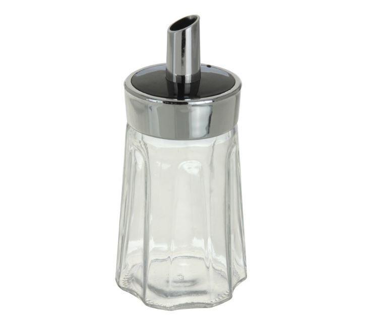 Cukřenka dávkovací 15 cm sklo tvarovaná