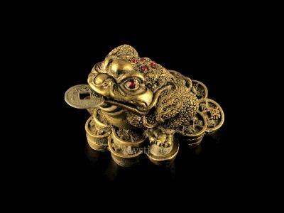 Figurka - Třínohá žába zlatá 7cm