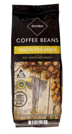 Rioba Columbia 100% Arabica káva zrno 500g