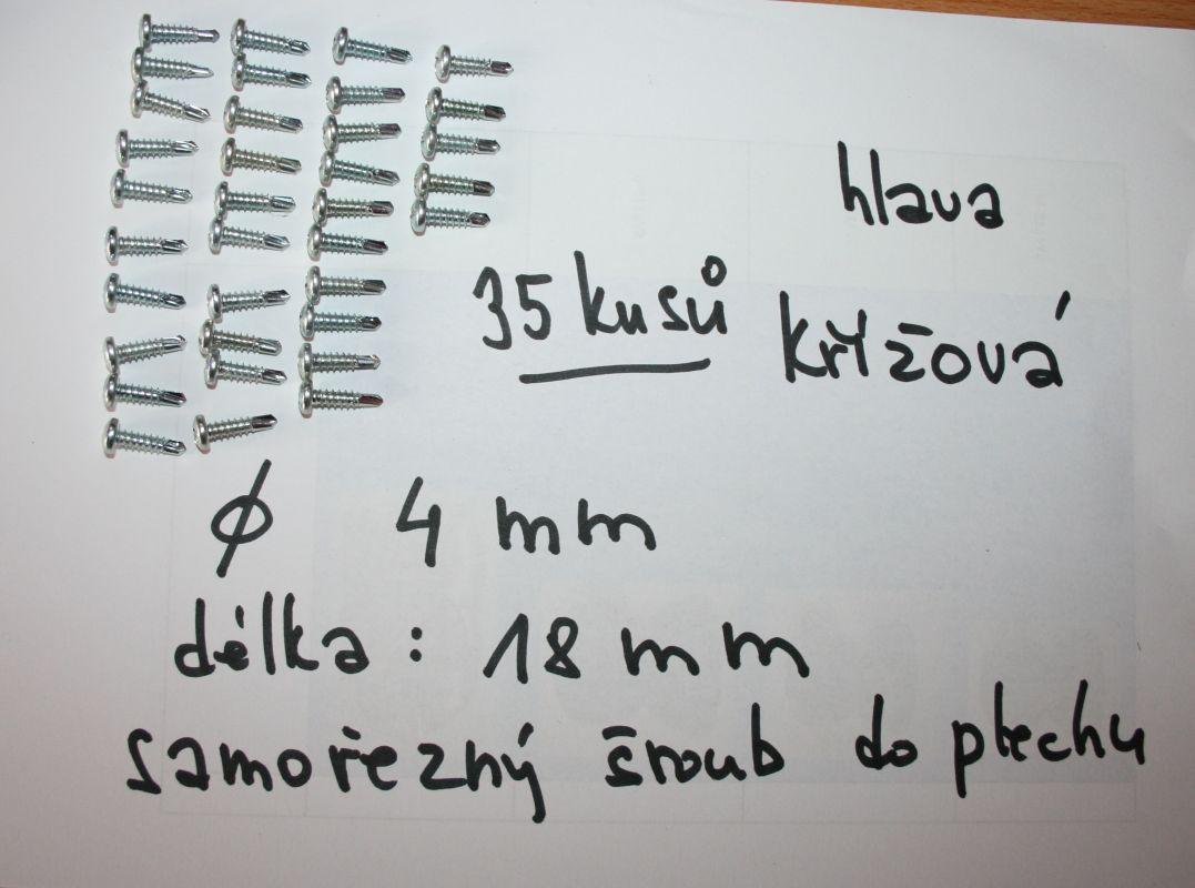 samořezný šroub křížová hlava do plechu průměr 4 mm délka 18 mm
