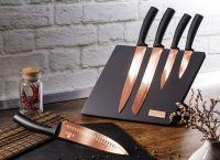 Sada nožů s magnetickým stojanem 6 ks Rosegold Metallic Line