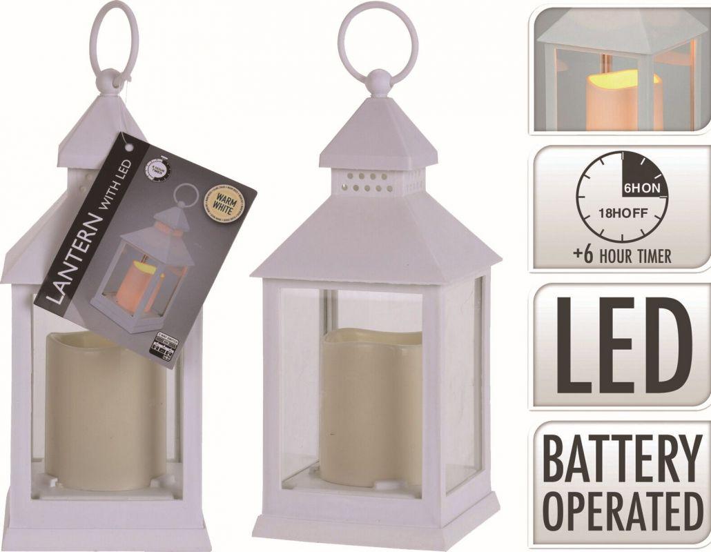 Lucerna vánoční 23cm s LED svíčkou