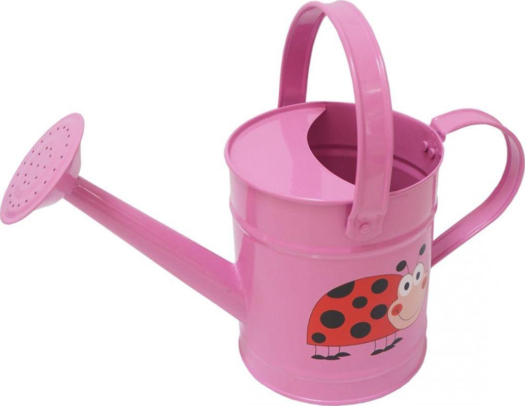 Konvička dětská zahradní kovová 1,6 l růžová