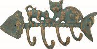 Věšák 4 háčky litina ryba+kočky 26,5x13x3 cm