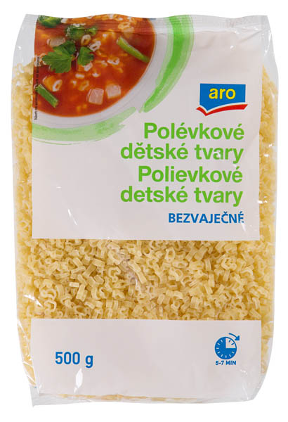 ARO Těstoviny polévkové bezvaječné dětské tvary 6x500g